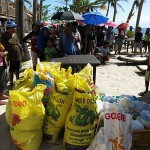 distribution of rice and baby milk at ocean vida